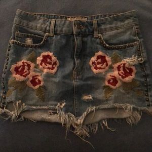 Free People Embroidered Jean Skirt